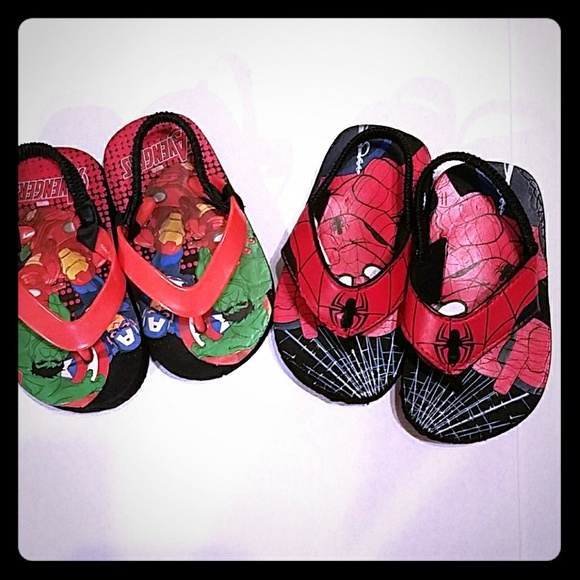 Other - 2 NWOT Flip Flops Spiderman and Avengers